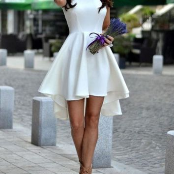 HOT ELEGANT FRONT SHORT BACK LONG DRESS HIGH QUALITY NOT THE POOR