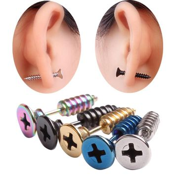 10pcs (5pairs) Fashion Earring,High Quality Stainless Steel Stud Earrings,colorful Screws Punk Men Earring