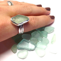 Coca Cola Sea Foam Large Sea Glass Ring Bezel Set Sterling Silver Size 8.0