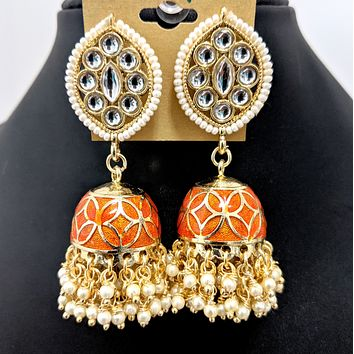 Curved diamond stud with flower design enamel jhumka earring
