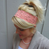 Coral/peach stretch lace headband by VintageBowBoutique on Etsy