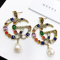 GUCCI New fashion  pearl multicolor letter long earring women