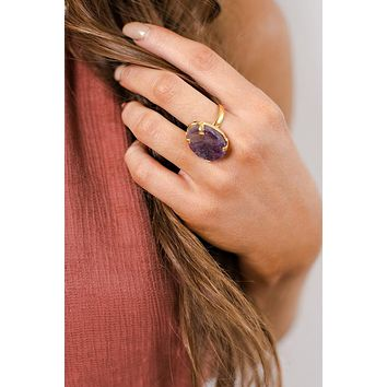 Dita Gemstone Ring (Gold/Purple)