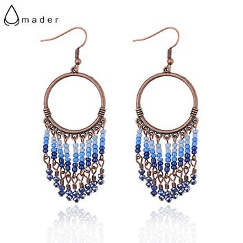 Amader 2018 Women's Round Ethnic Bohemia Blue Beaded Earrings Vintage Summer Drop Earrings Boucle d'oreille Holiday HQE947