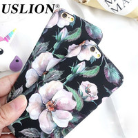 Retro Floral Phone Case For iPhone 7 Luxury Camellia Flower Hard Phone Cases Back Cover Capa Coque For iPhone7 6 6s Plus 5 5S SE