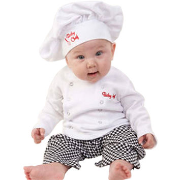 2016 Cute Halloween Baby Costumes Chef Baby Clothes Set Shirt + Pants + Hat 3pcs Plaid Suits Spring Autumn Baby Boys Clothing