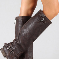 Double Buckle Boots - Brown
