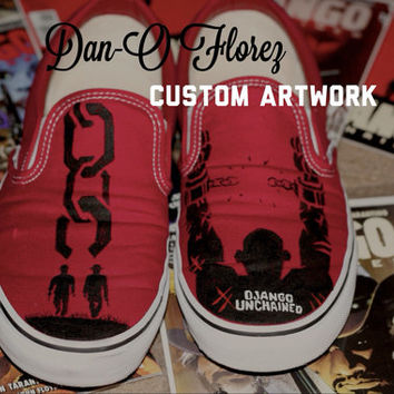 Django Unchained Quentin Tarantino inspired custom Painted TOMS Artwork and Shoes Included