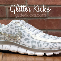Nike Free 5.0 V4 Blinged Out /Customized With Swarovski Crystal Rhinestones - White/Gray/Silver Leopard Print