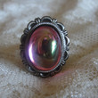 Antique Bronze Rose Pink Ab Glass Ring