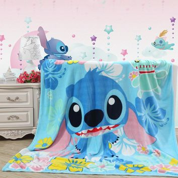 Home textiles blue stitch cartoon coral fleece blankets for bed throws bedclothes can be as bed sheet soft and warm