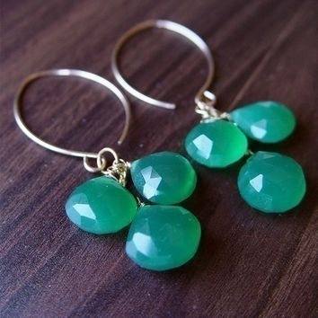 Green Onyx Cluster Earrings 14k Gold