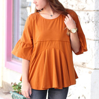Triangular Lace Cut Out Back Blouse {Caramel}