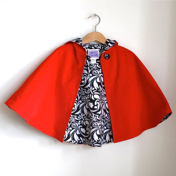 Little Red Riding Hood Cape Baby, Toddler or Girls Cape with Black & White Scroll Lining - Newborn to Girls 9/10 - cape, cloak, coat, jacket