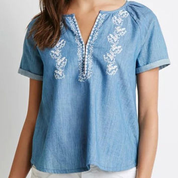 Blue V-Neck Short Sleeve Blouse