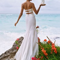 Slim Charmeuse Gown with Beaded Neckline and Back - David's Bridal - mobile