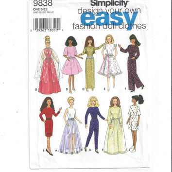 Simplicity 9838 Pattern for 11.5 Inch Fashion Doll, Design Own, From 1996, FACTORY FOLDED, UNCUT, Home Sewing Pattern, Vintage Pattern, Easy