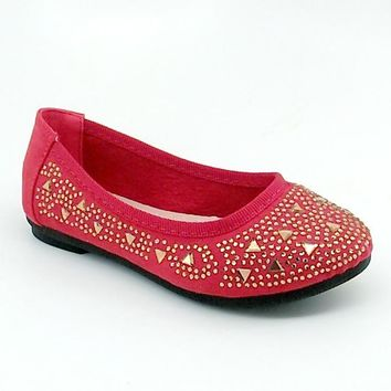 Girl's Red Flats with Gold Color Rhinestones