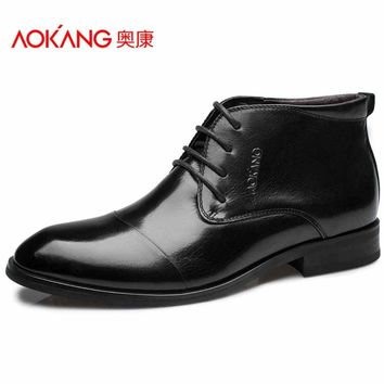 Aokang 2016 Winter men's boots genuin leather male shoes fashion black shoes Shoes lac