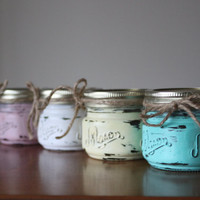 4 Distressed Mason Jar Candles, Shabby Chic Candles, Wedding Centerpiece, Rustic Kitchen Decor, Shabby Wedding Decor, Scented Candles, Gifts