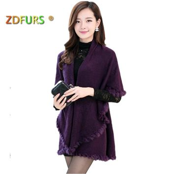 ZDFURS * Winter Autumn Rabbit Fur Collar Cashmere Cardigan Shawl Women Knitted Fur & Faux Fur Poncho Coat
