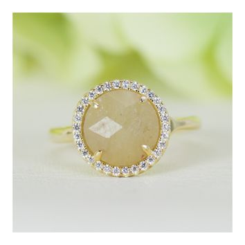 Halo Natural Yellow Sapphire and Cubic Zirconia in Gold-Plated Sterling Silver Ring