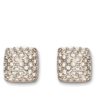 Swarovski Tactic Gold Tone and Crystal Stud Earrings