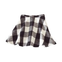 Black White Plaid Woven Skirt