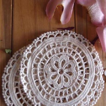 """Pack of 6 Crochet Cotton Lace Doilies in Ivory - 5"""" Wide"""