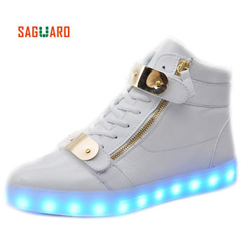 SAGUARO Men Women Fashion Luminous Shoes Metal High Top LED Lights USB Charging Colorful Shoes Lovers Casual Flash Shoes