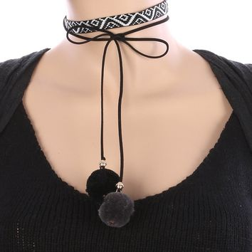 Black Diamond Tribal Pattern Embroidered Faux Leather Choker Necklace