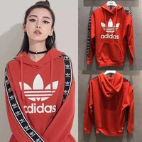 Adidas Women Man Fashion Print Hooded Sweater Top