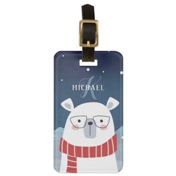 Bespectacled Polar Bear | Monogram Luggage Tag