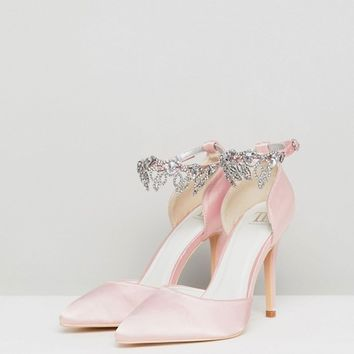 True Decadence Light Pink Embellished Court Shoes at asos.com