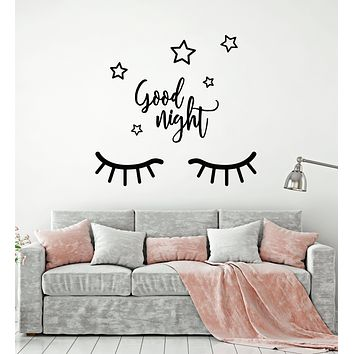 Vinyl Wall Decal Closed Eyes Good Night Stars Sleep Bedroom Quote Stickers Mural (g917)