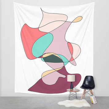 Abstract 1 (white) Wall Tapestry by DuckyB (Brandi)