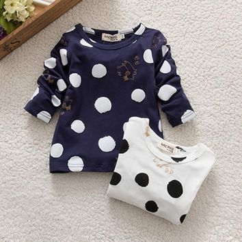 Spring Baby Kids Casual T-Shirt Long Sleeve Blouse Polka Dots Cotton Top