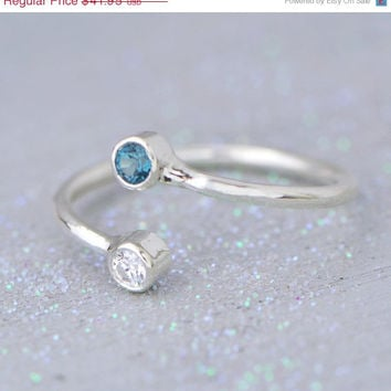 SALE London Blue Topaz Ring - Dual Gemstone Ring - Promise Ring - Friendship Ring - Birthstone Jewelry - Topaz Jewelry