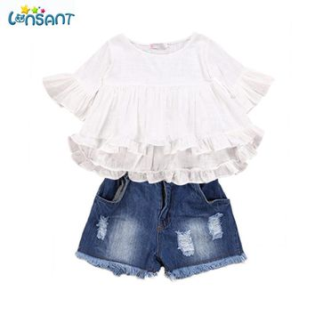 LONSANT Girls Clothing Set Kids Fairy Style Cotton Flounced Sleeves Jeans Princess Clothes Cartoon Party Mini Dress Dropshipping