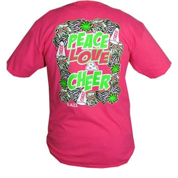 Bjaxx Peace Love Cheer Cheerleading Sports Girlie Bright T Shirt