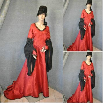 Customer-made Red Cosplay Renaissance Dress Victorian Costumes Civil war Dress Steampunk dress Gothic Halloween Dress C-621