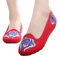 Kite Pointed Old Beijing Cloth Embroidered Shoes   red