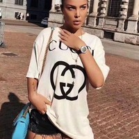 GUCCI Summer Fashionable Women Men Casual Letter Print Round Collar T-Shirt Top Tee White
