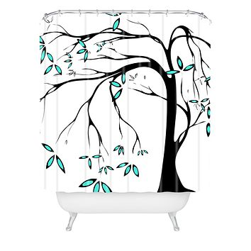 Madart Inc. Garden Delight Aqua Breeze Shower Curtain