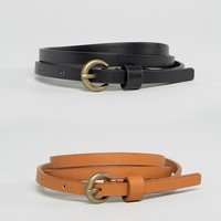 ASOS 2 Pack Super Skinny Vintage Look Waist and Hip Belt in Water Based PU at asos.com