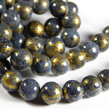 16 Inch Strand - 10mm Mashan Jade Round Beads - Gray - Slate Gray - Gold Dust - Gemstone Beads - Jewelry Supplies