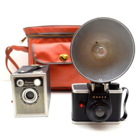 Pair of Two Vintage Ansco Cameras with Carrying Case, Ansco Shur Shot and Ready Flash, 1950s