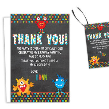 Monster Thank You Cards - Chalk Monster Birthday Party Thank You Card - Party Favor Tags - 1st Birthday - Boy - Girl - Photo - Printed