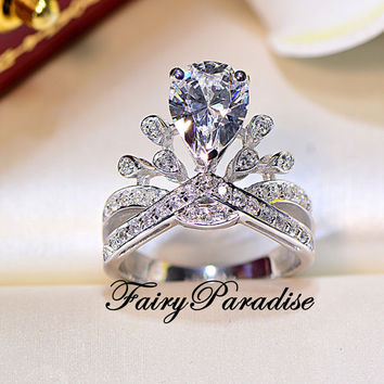 2 Ct Pear Cut Princess Crown Ring/ Art Deco Engagement Ring / Promise Ring, Man Made Diamond, Tiara Ring, Right Hand Ring ( FairyParadise )