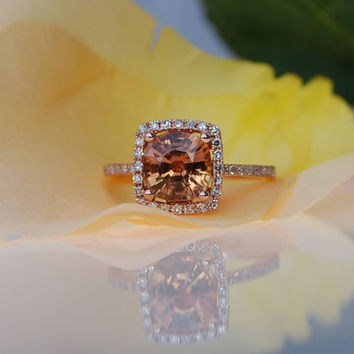 2ct Square Cushion Ginger Peach sapphire 14k rose gold diamond ring engagement ring